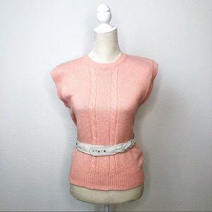 Vintage Optimum Pink Peach Sleeveless Sweater M